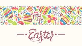 Άνευ ραφής γραμμή διακοσμήσεων Πάσχας τα αυγά και τα λουλούδια που απομονώνονται με Στοκ Φωτογραφίες