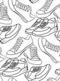 Άνευ ραφής γραπτή σύσταση με ένα σχέδιο περιγράμματος του τρεξίματος των παπουτσιών και ενός πάνινου παπουτσιού απεικόνιση αποθεμάτων