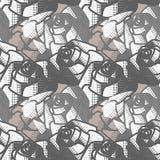 Άνευ ραφής γραπτό αφηρημένο σχέδιο με τα τριαντάφυλλα Διανυσματική ανασκόπηση Στοκ Φωτογραφία