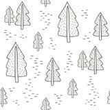 Άνευ ραφής γραπτό σχέδιο με fir-trees δρύινο διάνυσμα προτύπων κορδελλών φύλλων δαφνών συνόρων Στοκ Εικόνα