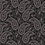 Άνευ ραφής γραπτό σχέδιο με το Paisley και τα γεωμετρικά στοιχεία Στοκ φωτογραφία με δικαίωμα ελεύθερης χρήσης