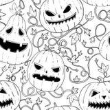 Άνευ ραφής γραφικό σχέδιο με τις τρομακτικές κολοκύθες και πέταλο στο άσπρο υπόβαθρο Στοκ Φωτογραφίες