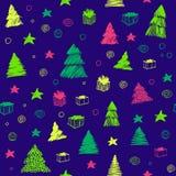 άνευ ραφής δέντρο προτύπων Χ&r Συρμένο το χέρι διάνυσμα χρωμάτισε το γραφικό σκίτσο χαριτωμένο doodle ανασκόπησης διανυσματική απεικόνιση