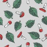 Άνευ ραφής δηλητηριώδες blody-κόκκινο amanita ξεφυτρώνει και πράσινο nettle τσιμπήματος στοιχείο σύστασης σχεδίων φύλλων στο γκρί διανυσματική απεικόνιση
