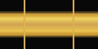 άνευ ραφής διάνυσμα προτύπων Οριζόντιο χρυσό λωρίδα, διακόσμηση deco τέχνης στο μαύρο υπόβαθρο Ταπετσαρία, τυλίγοντας έγγραφο, υφ ελεύθερη απεικόνιση δικαιώματος