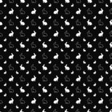 άνευ ραφής διάνυσμα προτύπων Σύσταση εικονιδίων κουνελιών Γραπτό υπόβαθρο Μονοχρωματικό σχέδιο διανυσματική απεικόνιση