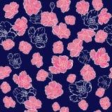 άνευ ραφής διάνυσμα προτύπ&omeg λεπτό ρόδινο άνθος Sakura ή ιαπωνικό ανθίζοντας κεράσι συμβολικό της άνοιξης σε έναν τυχαίο απεικόνιση αποθεμάτων