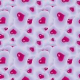 Άνευ ραφής διακοσμητική σύσταση με τις κόκκινες καρδιές και το πορφυρό υπόβαθρο απεικόνιση αποθεμάτων