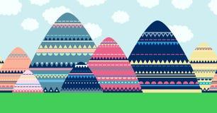 Άνευ ραφής διακοσμητικό τοπίο βουνών Διανυσματική απεικόνιση κινούμενων σχεδίων doodle Στοκ Φωτογραφία