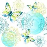 Άνευ ραφής διακόσμηση με τις πεταλούδες watercolor Στοκ Φωτογραφίες