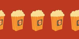 Άνευ ραφής διανυσματικά σύνορα με συρμένους τους χέρι popcorn κάδους Απεικόνιση πρόχειρων φαγητών κινηματογράφων συρμένο χέρι γρή απεικόνιση αποθεμάτων