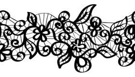 Άνευ ραφής διανυσματική μαύρη δαντέλλα διανυσματική απεικόνιση