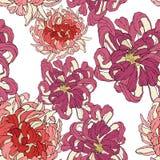 Άνευ ραφής διανυσματική floral ταπετσαρία Διακοσμητικό εκλεκτής ποιότητας σχέδιο στο κλασικό ύφος με το chrysantemum λουλουδιών Δ ελεύθερη απεικόνιση δικαιώματος