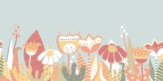 Άνευ ραφής διανυσματικό λιβάδι λουλουδιών άνοιξη συνόρων Σκανδιναβικό ύφος διανυσματική απεικόνιση