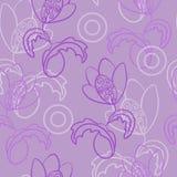 Άνευ ραφής διανυσματικό πολλαπλάσιο σχέδιο Φαντασία, μυθικό λουλούδι με τις μπούκλες Μεταξύ των χαοτικά διεσπαρμένων κύκλων στοκ φωτογραφία