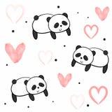 Άνευ ραφής διανυσματικό σχέδιο για την ημέρα βαλεντίνων watercolor καρδιές και pandas Στοκ Φωτογραφίες