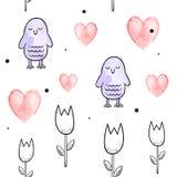 Άνευ ραφής διανυσματικό σχέδιο για την ημέρα βαλεντίνων watercolor Καρδιές και πουλιά Στοκ φωτογραφία με δικαίωμα ελεύθερης χρήσης