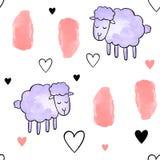 Άνευ ραφής διανυσματικό σχέδιο για την ημέρα βαλεντίνων watercolor Καρδιές και πρόβατα Στοκ εικόνα με δικαίωμα ελεύθερης χρήσης