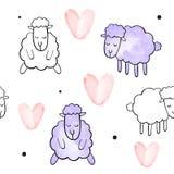 Άνευ ραφής διανυσματικό σχέδιο για την ημέρα βαλεντίνων watercolor Καρδιές και πρόβατα Στοκ εικόνες με δικαίωμα ελεύθερης χρήσης