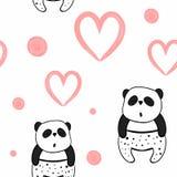 Άνευ ραφής διανυσματικό σχέδιο για την ημέρα βαλεντίνων watercolor καρδιές και pandas Στοκ Φωτογραφία
