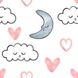Άνευ ραφής διανυσματικό σχέδιο για την ημέρα βαλεντίνων watercolor Καρδιές και φεγγάρι Στοκ Φωτογραφίες
