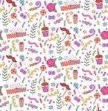Άνευ ραφής διανυσματικό σχέδιο κόμματος doodle Στοκ φωτογραφία με δικαίωμα ελεύθερης χρήσης