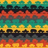 Άνευ ραφής διανυσματικό σχέδιο λωρίδων με τα ζωηρόχρωμα αυτοκίνητα ελεύθερη απεικόνιση δικαιώματος