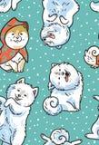Άνευ ραφής διανυσματικό σχέδιο με τα σκυλιά Το inu Akita και τα κουτάβια Στοκ Εικόνα