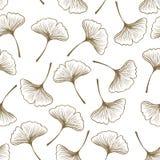 Άνευ ραφής διανυσματικό σχέδιο: Σκιαγραφία φύλλων biloba Ginkgo σε ένα άσπρο/απλό υπόβαθρο διανυσματική απεικόνιση