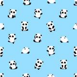 Άνευ ραφής διανυσματικό σχέδιο: το panda αφορά το σχέδιο το ανοικτό μπλε υπόβαθρο ελεύθερη απεικόνιση δικαιώματος