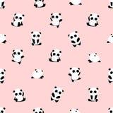 Άνευ ραφής διανυσματικό σχέδιο: το panda αφορά το σχέδιο το ανοικτό ροζ υπόβαθρο διανυσματική απεικόνιση