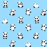 Άνευ ραφής διανυσματικό σχέδιο: το panda αφορά το σχέδιο το μπλε υπόβαθρο ελεύθερη απεικόνιση δικαιώματος