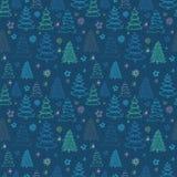 Άνευ ραφής διανυσματικό σχέδιο Χριστουγέννων με ζωηρόχρωμα fir-trees και το ST Στοκ φωτογραφίες με δικαίωμα ελεύθερης χρήσης
