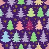 Άνευ ραφής διανυσματικό σχέδιο Χριστουγέννων με ζωηρόχρωμα fir-trees και sn Στοκ Εικόνα