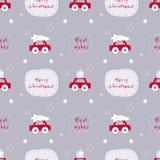 Άνευ ραφής διανυσματικό σχέδιο Χριστουγέννων με τα αυτοκίνητα και κείμενο στο συμπαθητικό gre ελεύθερη απεικόνιση δικαιώματος