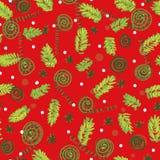 Άνευ ραφής διανυσματικό σχέδιο Χριστουγέννων με τους κλάδους και τις διακοσμήσεις δέντρων απεικόνιση αποθεμάτων