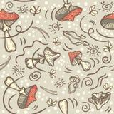 Άνευ ραφής διανυσματικό υπόβαθρο με τα μανιτάρια, τις βελόνες και τους σκώρους Amanita agari μυγών απεικόνιση αποθεμάτων