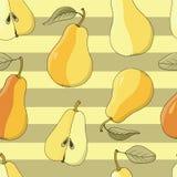 Άνευ ραφής διανυσματικό υπόβαθρο με τα ώριμα αχλάδια στα κίτρινα λωρίδες Στοκ εικόνα με δικαίωμα ελεύθερης χρήσης