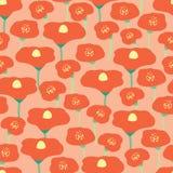 Άνευ ραφής διανυσματικό υπόβαθρο τομέων λουλουδιών παπαρουνών Κόκκινο λιβάδι παπαρουνών στο ρόδινο peachy υπόβαθρο κοραλλιών Αναδ απεικόνιση αποθεμάτων
