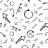 Άνευ ραφής δείκτης μελανιού doodle και σχέδιο βελών απεικόνιση αποθεμάτων