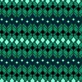 Άνευ ραφής εθνικό φυλετικό ριγωτό πράσινο υπόβαθρο σχεδίων Απεικόνιση αποθεμάτων