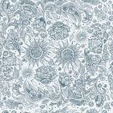 Άνευ ραφής εθνικό φυλετικό σχέδιο με τα λουλούδια διανυσματική απεικόνιση
