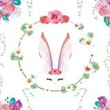 Άνευ ραφής εκλεκτής ποιότητας λαγουδάκι σχεδίων Floral διανυσματική απεικόνιση