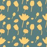 Άνευ ραφής εκλεκτής ποιότητας πράσινο floral σχέδιο με την κίτρινη τουλίπα ελεύθερη απεικόνιση δικαιώματος