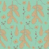 Άνευ ραφής εκλεκτής ποιότητας floral σχέδιο με τα δρύινα φύλλα Στοκ Εικόνες