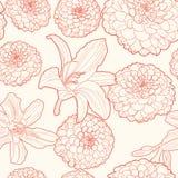 Άνευ ραφής εκλεκτής ποιότητας floral σχέδιο με τον αστέρα και διανυσματική απεικόνιση