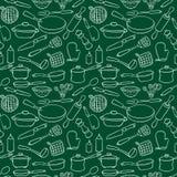 Άνευ ραφής εμπορεύματα κουζινών σχεδίων countour Στοκ Φωτογραφία