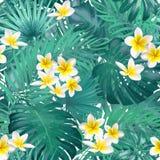 Άνευ ραφής εξωτικό σχέδιο με τα τροπικά φύλλα και τα λουλούδια σε ένα μπεζ υπόβαθρο υποβάθρου επίσης corel σύρετε το διάνυσμα απε ελεύθερη απεικόνιση δικαιώματος