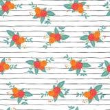 Άνευ ραφής επαναλάβετε τις ανθοδέσμες λουλουδιών στο διάνυσμα λωρίδων διανυσματική απεικόνιση