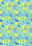 Άνευ ραφής επαναλαμβανόμενο floral πρότυπο με τα αφηρημένα λουλούδια τέχνης Στοκ Φωτογραφίες